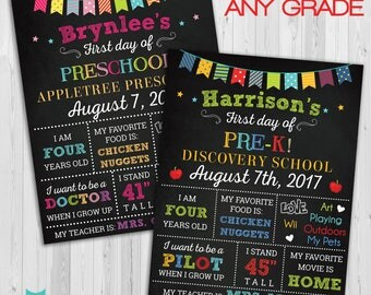 First day of Preschool sign, First day of school sign, Girls Preschool PreK Chalkboard poster, 1st day Back to School Sign Printable ANY AGE