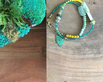 t e r r a. collection 50% proceeds to Rainforest Alliance / Bohemia / beaded wrap bracelet / green palm / natural stone / anklet / olive