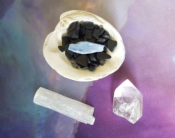 Reiki infused gemstone bundle with a hand collected seashell, black tourmaline tumbles, blue kyanite, selenite and quartz crystal