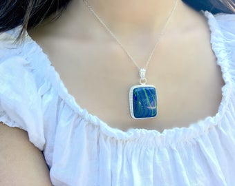 Turquoise Necklace Turquoise Necklace Turquoise pendant Turquoise Jewelry 925 sterling silver handmade necklace Blue Jewelry Boho Chic