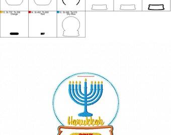 2017 Menorah - Hanukkah - Snow Globe - Ornament -  In The Hoop - DIGITAL Embroidery DESIGN