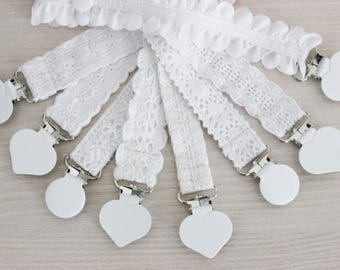 Baptism Pacifier Clip, Pacifier Holder, Paci clip, White Embroidery Pacifier clip, girl pacifier, Baby accessories, Binky Clips, dummy clip