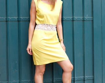 Vintage yellow dress, 80s dress