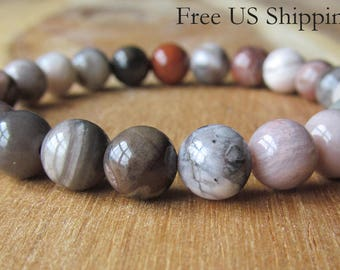 8mm Petrified Wood Bracelet,Natural Stone Bracelet, Gemstone Bracelet, Beaded Stone Bracelet, Yoga Bracelet, Yoga Jewelry, Stacking Bracelet