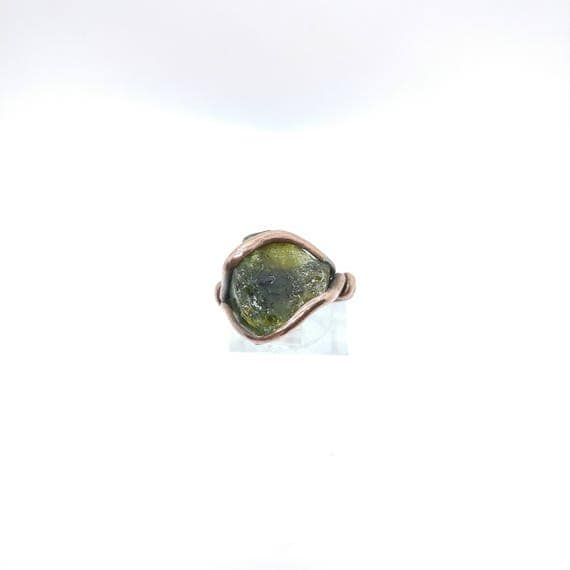 Green Tourmaline Crystal Ring | Copper Ring Sz 8.25 | Rough Tourmaline Ring | Raw Tourmaline Ring | Rustic Ring | October Birthstone Ring