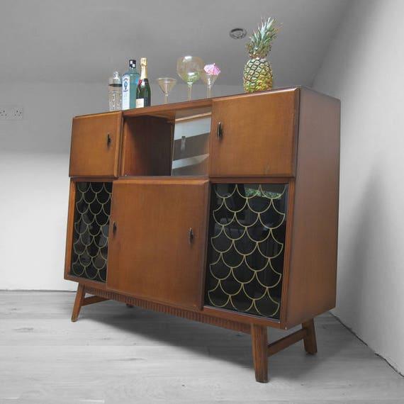 Mid Century Drinks Cabinet Cupboard Sideboard 1960s Retro Atomic Legs Display Cocktails