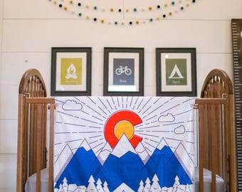 Baby blanket - Colorado flag - soft - minky - cuddle - CO - white - blue - red - grey - mountains - outdoors - modern - handmade - play mat