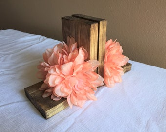 Flower Bookends Wood Nursery Pink Floral Book Shelf Little Girls Bedroom Shelf Decor Baby Shower Gift Idea Boho Bohemian Modern Rustic