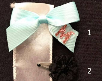 "M Barrette Set - Turquoise Bow with Pink Swarovski Crystal ""M"" and Mini Black Flower Barrette"