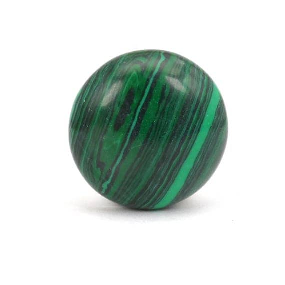 Round Green Marble : Malachite cabochon round green stone bead
