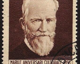 George Bernard Shaw, Playwright -Handmade Framed Postage Stamp Art 22558AM