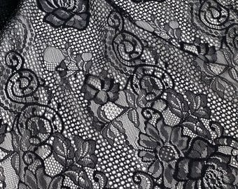 Black Lace fabric French Lace, Chantilly Lace, Bridal lace Wedding Lace Evening dress lace Scalloped Floral lace Lingerie Lace BJ1002