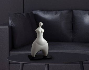 Modern Sculpture for Home - Resin and Marble Powder Sculpture - 3D Art - White Statue - Decorative Sculpture - Modern White Abstract Figure