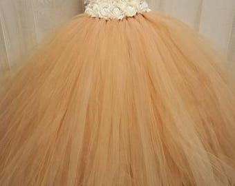 Flower girl dress - Tulle flower girl dress - Ivory Dress - Tulle dress-Infant/Toddler - Pageant dress - Princess dress - Gold flower dress