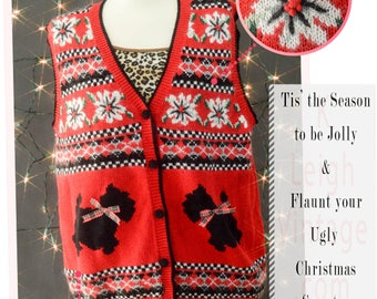 Ugly Christmas Sweater Vest, Ugly Christmas Jumper, 80s Novelty Sweater, Scottie Christmas Dog Sweater, Size Large Sweater, Alfred Dunner