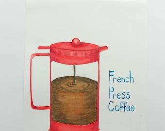 Original Watercolor Illustration // French Press Coffee Pot