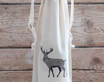 Red Stag Bottle Bag With Ties