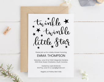 Twinkle Twinkle Little Star Baby Shower Invitation Printable, Editable Baby Shower Invitation, Baby Shower Template, Instant Download.