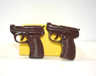 1342 2xHandgun Pistol Revolver Gun Cabochons Silicone Rubber Food Safe Mold Mould-resin, clay, fondant, chocolate, candy, etc.