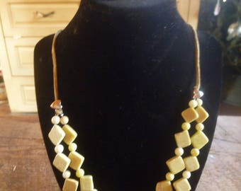 new olive jade double strand necklace and earring set