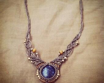 Lapis lazuli necklace Macrame, TRIBAL JEWELRY, festival necklace, FINE necklace, gentle macrame, boho necklace, festival jewelry, handmade