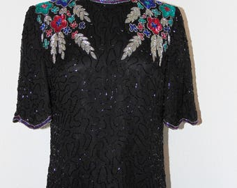 Vintage 1980s Sequin & Beaded 100% Silk Blouse by Lawrence Kazar in sz M