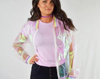 Holographic Rainbow Jacket, transparent jacket, sheer jacket,  festival fashion
