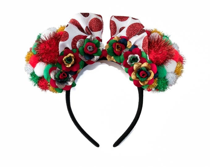 Christmas Pom Pom Mouse Ears Headband