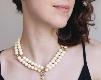 Bone necklace-White necklace woman-Vintage bib necklace-White bib jewelry-Soft white color-Milk white jewelry-White necklace wife-Tuareg