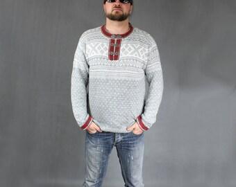 UNISEX 80s Norwegian Wool Sweater, 80s Vintage Retro Gray Warm Pullover, Casual Workout Men's Oversized Scandinavian Sweater Jumper, Sz L