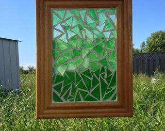 Green Stained Glass Suncatcher - Green Ombre Stained Glass Mosaic Suncatcher Green Abstract Glass Mosaic Suncatcher Green Home Decor