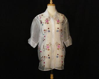 Sheer White Embroidered Voile Blouse Maggie Sweet Whimsical Top XL - 1X