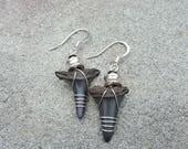 Genuine Wire Wrapped Prehistoric Shark Teeth Fossil Earrings