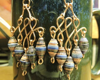 Hnadmade 100% sold copper dangle earrings with blue/multi coloered beads