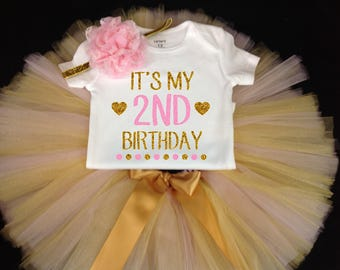Pink Gold Tutu Set,  Birthday Set, Second Birthday, Pink Birthday Tutu, Pink Gold Second Birthday Tutu Set,  Second Birthday Tutu Outfit