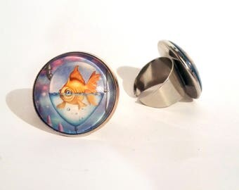Ring with print of goldfish in balloon, art by Susann Brox Nilsen. Lowbrow, pop art, colorful, fish, zodiac, forest, for her, nickel-free