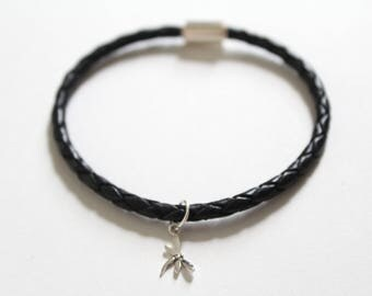 Leather Bracelet with Sterling Silver Little Dragonfly Charm, Dragonfly Bracelet, Tiny Dragonfly Bracelet, Small Dragonfly Bracelet, Bug