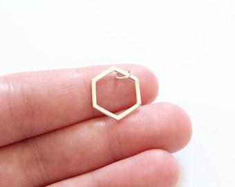 Sterling Silver Hexagon Charm, Hexagon Pendant, Hexagon Charm Silver, Silver Hexagon, Hexagon Silver, Sterling Silver Hexagon Charm