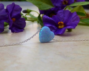 Heart Necklace, Blue\White Opal Heart Necklace, Opal Heart Necklace, Dainty Heart Necklace ,Heart Jewelry , Tiny Heart Necklace ,Opal Heart.