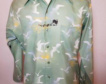 FREE  SHIPPING   1970  Abstract nylon Men Shirt