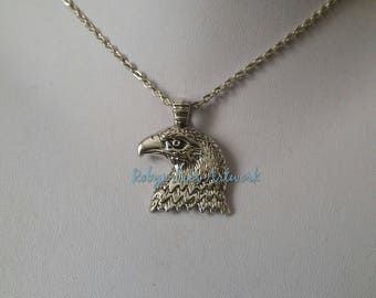 Flat Silver Eagle Bird Head Pendant Necklace on Silver Crossed Chain or Black Faux Suede Cord. Nature, Animals, Flying, Pride