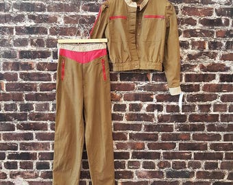 80s Cropped Jacket and Pants 2 Piece Set. Khaki Green Cotton. 1980s Military-Inspired / Zippered Jacket / Ghostbusters / Uniform