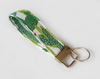 Cactus Key Fob / Cacti Keychain / Southwest / Wristlet / Keychain Lanyard / Desert Key Fob / Key Chain / Botanical / Fabric Lanyard / Cacti