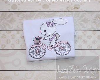 Easter Bunny girl on bike with basket of eggs sketch embroidery design - bunny embroidery design - easter embroidery design - bike design