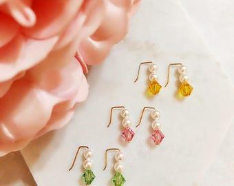 Sweet Encounter Collection | Flower Girl Earrings, Shell Pearl Bead Earrings, Crystal Earrings, Bridesmaid Earrings, Sister Gift