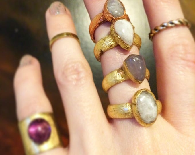 Moonstone Gold Ring, Moonstone Copper Ring, Size 4.25, Size 4.5, Size 7