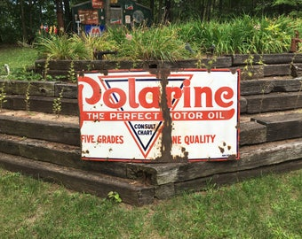 1930s Porcelain Polarine Motor Oil Sign Original Large Gas Station Sign Polarine 1930s Large Advertising Sign Polarine Standard Oil Company