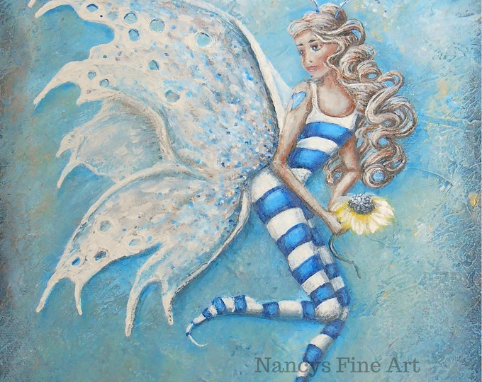 Original fairy painting, textured blue fae pixie wall art by Nancy Quiaoit.