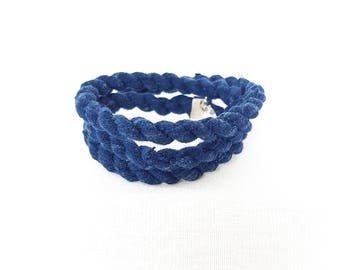 Upcycled Blue Tshirt Wrap-Around Bracelet
