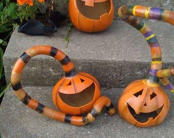 Goofy Jack O Lantern Gourd, Carved Pumpkin, Crazy Striped Hat, Halloween Pumpkin Gourd, Halloween Yard Art, Halloween Decoration, Lantern